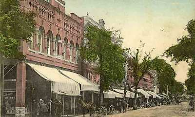 1909 FARMVILLE VA early Main Street Horses Wagons Pharmacy postcard