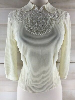 Vintage 50s ivory white lace rhinestones embroidered blouse top S