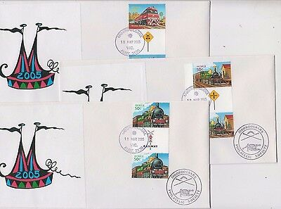 Stamps Australia 2005 trains gutter pairs set of 5 Mooroolbark souvenir covers