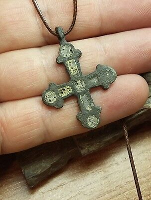GREAT ANCIENT RARE Viking CROSS PENDANT Viking Kievan Rus ca 10-12 century #2121