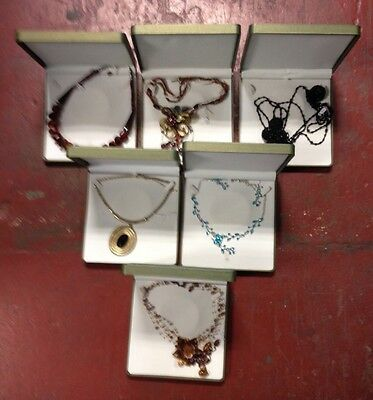 Job Lot of 6 Costume Jewellery Necklaces in Green Jewellery Boxes - SEP206