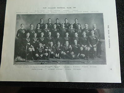 "NEW ZEALAND Rugby Union TEAM 1905 Approx 12""x 9"" ORIGINAL PRINT"