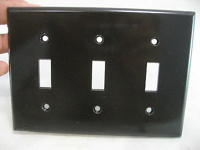 LEVITON 3 Light Switch Cover Plate Brown Bakelite Art Deco Electrical Vintage