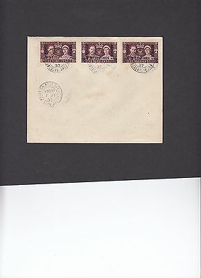 1937 Coronation Morocco Agencies Tangier set of 3 on cover British PO Casablanca