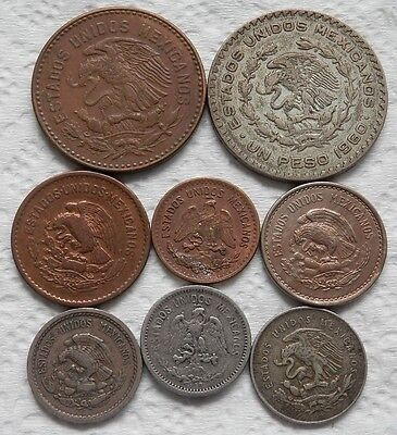 Mexico, A Lot Of 8 Different Type Vintage Coins