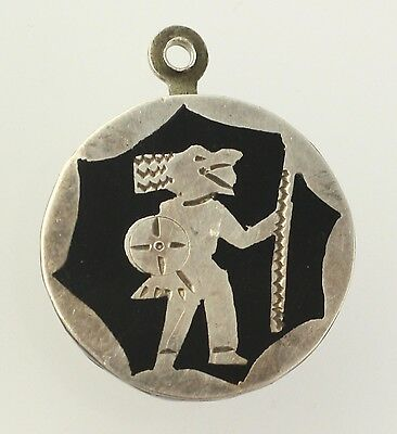 Aztec Warrior Charm - Alpaca Silver Black Resin Jewelry Making Dangle Vintage