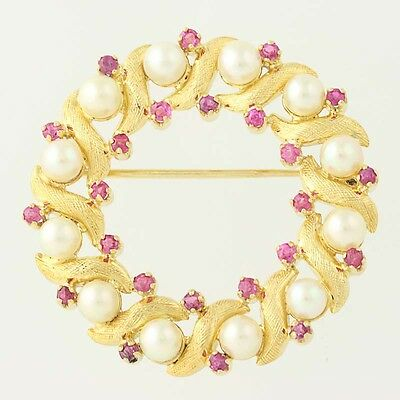 Cultured Pearl & Ruby Wreath Brooch - 18k Gold June July Gift 1.32ctw
