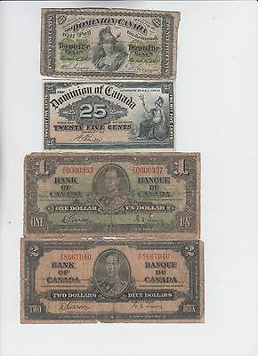 Canada Paper money group of 4 notes Lower grade and up
