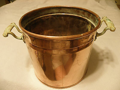 Large thick copper planter or fireplace ash bucket