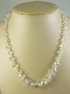 """Vintage Faceted AB Crystal Graduated Bead Necklace 19"""""""