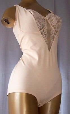 SLIMMING LACY CHAMPAGNE NUDE Vintage 1980s BODY BRIEFER SHAPER GIRDLE -sz 36 B