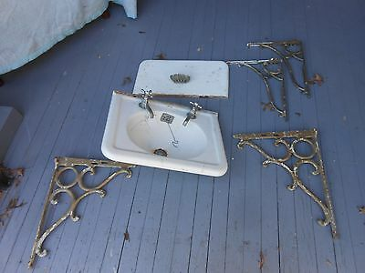 Antique Industrial Cast Iron Porcelain Kitchen Bathroom Sink Brackets Pair