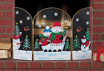 Gold Finish Frosty The Snowman Christmas Fireplace Screen