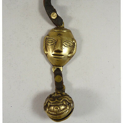old china Tibetan theme brass carved lion belle man face leather amulet pendant