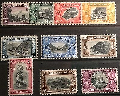 ST.HELENA 1934 CENTENARY SET SG114/123 lightly mounted to 5/-, UNMOUNTED 10/-!!!
