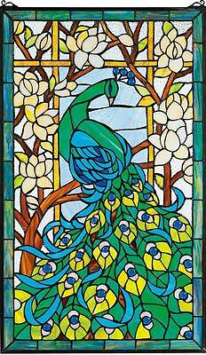 "MAJESTIC PEACOCK HAND-CRAFTED MAGNOLIAS LOTUS 23x35"" STAINED GLASS WINDOW PANEL"