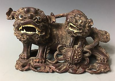 Foo Dog Chinese Huanghuali hardwood ROOT Statue China Yellow Rosewood Zitan