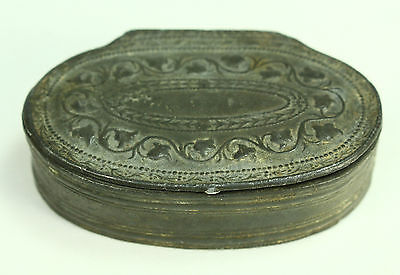*Antique c.1800 Ottoman Turkish Pewter Lead Opium Snuff Enfie Box