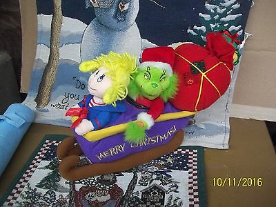 Dr Seuss Grinch Stole Christmas On Sleigh Animated Stuffed Cindy Lou Who
