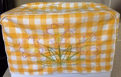 Vintage Toaster Cover Orange/White Check Embroidered Flowers White Piping