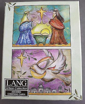 New Lang Artisan Collection 18 Two Types Star Dove Nativity Christmas Cards Envl