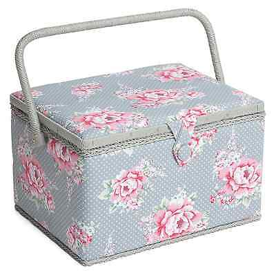 LARGE Sewing Box - Fabric sewing Basket with Handle & Tray Hobbygift Blooms