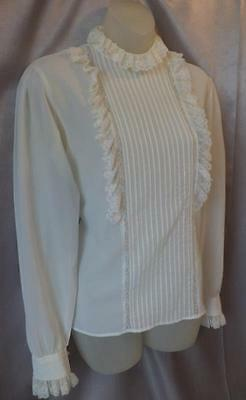 ROMANTIC RUFFLED LACY BOHO VICTORIAN Vintage 1970s BLOUSE / TOP - Med / Lrg