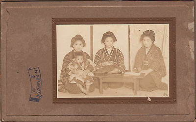 Antique Photo / Three Young Women & Small Boy / Japanese / c. 1920