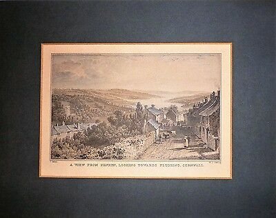 Genuine Antique 1831 Hand Tinted Engraving: Penryn Looking To Flushing, Cornwall