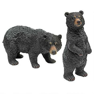 Set of 2: Nature's Magnificence Black Bear Statue Home Garden Sculpture