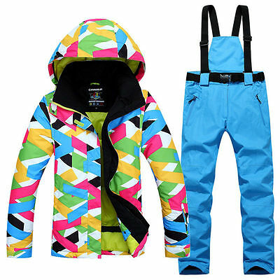 Women'S Outdoor Sport Ski Suit Waterproof Windproof -30 Snowsuits Coat Pants