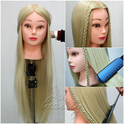 """26"""" 30% Real Human Long Hair Hairdressing Training Mannequin Head Free Clamp New"""