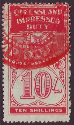 Queensland 10/-  Impressed Duty Stamp (A8174)