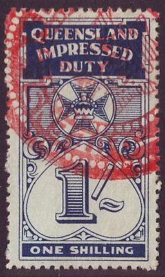 Queensland 1/-  Impressed Duty Stamp (A8175)