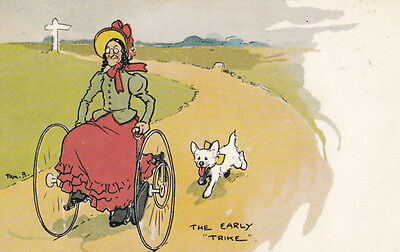 Tom Browne Wheelchair Disabled The Early Trike Antique Comic Humour Postcard