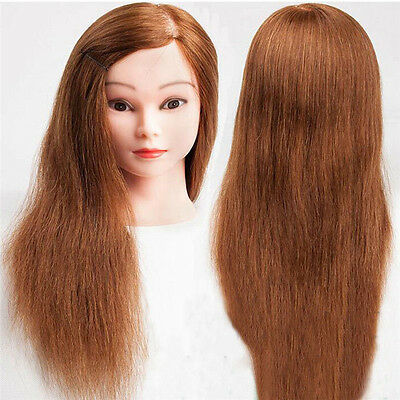 Women 100% Real Human Hair Training Head Mannequin Hairdressing Practice + Clamp