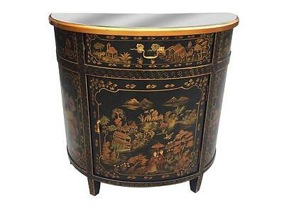 Antique Style Rose Traditional Asian Chinese Chinoiserie Demi-Lune Chest Drawers