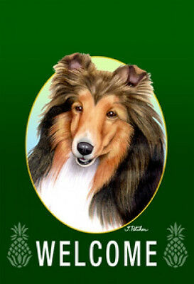 Garden Indoor/Outdoor Welcome Flag (Green) - Shetland Sheepdog Sheltie 740141