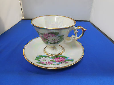 Rare Antique Lugene's Pearlized Tea Cup w/pedestal  and Saucer July Waterlilly