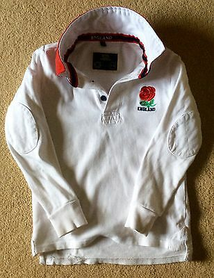Boys Girls England Rugby Top Shirt White Rose Design Rugby Heritage Age 7-8 VGC