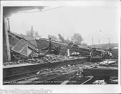 GER WRECK OF CROMER EXPRESS AT WITHAM STATION ESSEX 8x6 LNER OFFICIAL PHOTO 1905