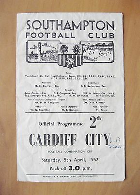 SOUTHAMPTON v CARDIFF CITY Reserves Comb Cup 1951/1952 Fair Condition Programme