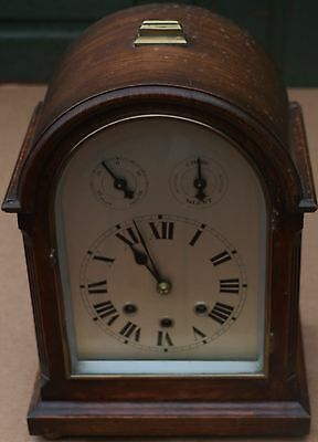 Old Large Arched Top Wooden Chiming Mantel Clock