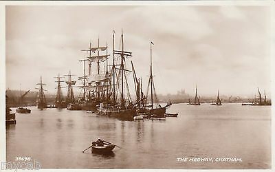 Postcard Chatham Kent early view of sailing boats on The Medway RP