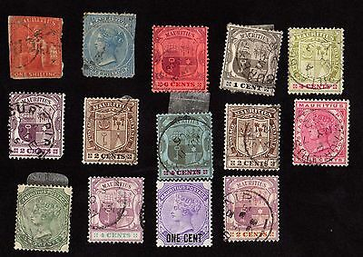 Stamps MAURITIUS Queen VICTORIA & Early CDS POSTMARKS Loose (2 x 1 SHILLING 1/-)