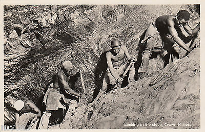 Postcard South Africa mining Lashing in the stope Crown Mines RP by Recordia