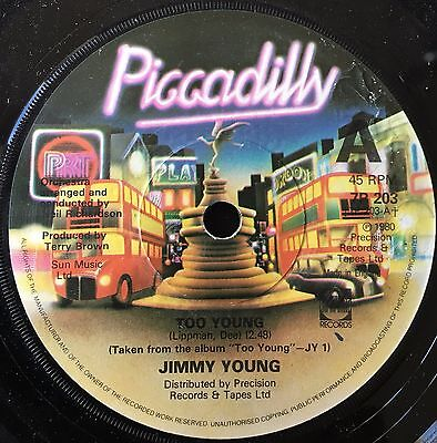 """JIMMY YOUNG - TOO YOUNG  b/w  THE STORY OF MY LIFE  7"""" vinyl single"""