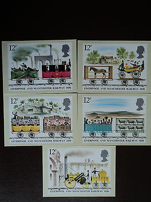 5 PHQ Postcards Liverpool and Manchester Railway 1830. FDI Stamps on back. 1980.