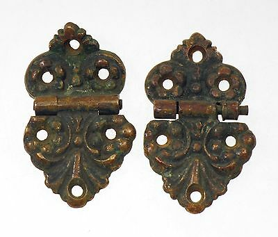 Pair Of Flush Mount Ornate Bronze Ice Box Hinges