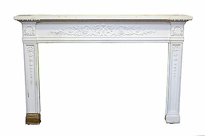 Painted White Ornate Wooden Mantel
